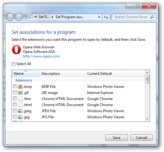 Windows 7 defaults for Opera
