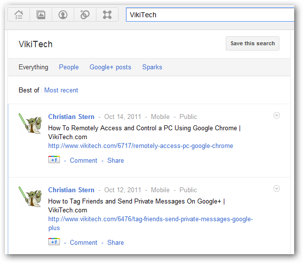 Google+ real time search results for topic