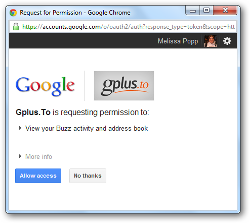 Allow gplus.to access to your Google+ profile and services