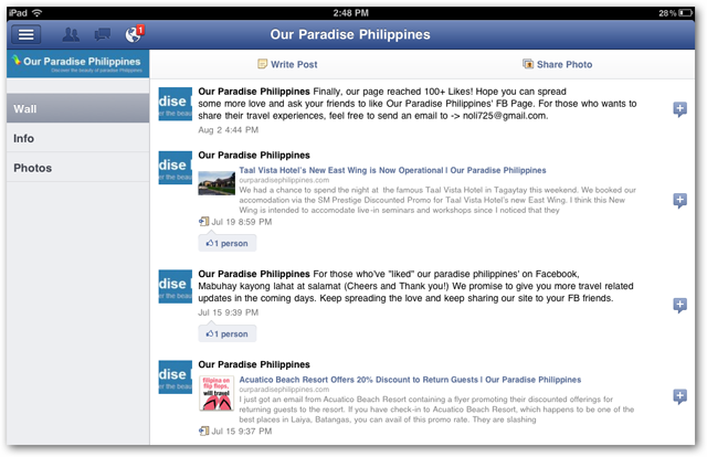 Facebook for iPad - Managing Pages