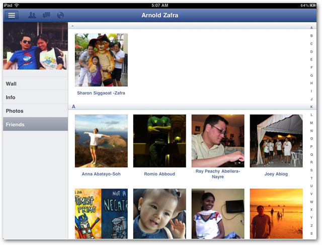 Facebook for iPad screenshots Friends Page