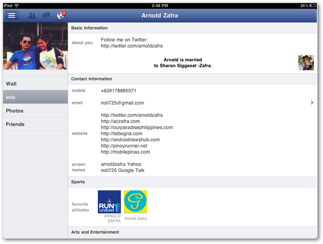 Facebook for iPad screenshots of Info Page