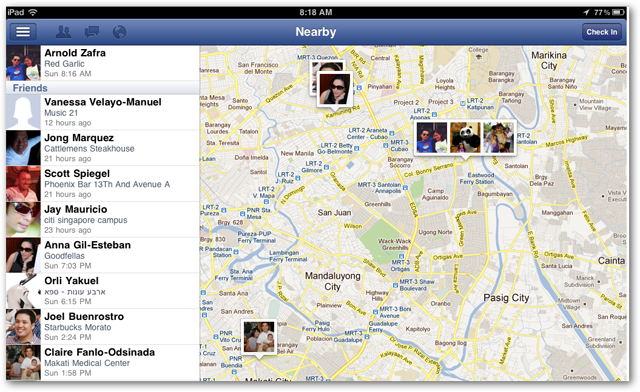 Facebook for iPad screenshots of Nearby view