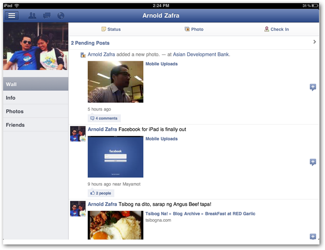 Facebook for iPad screenshots of Profile Page
