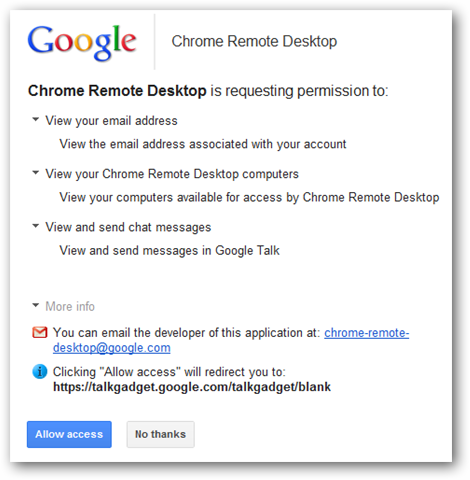 the permissions being requested-chrome remote desktop