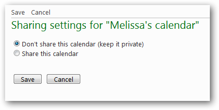 "Sharing settings for ""Melissa's calendar"""