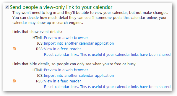 Send people a view-only link to your calendar