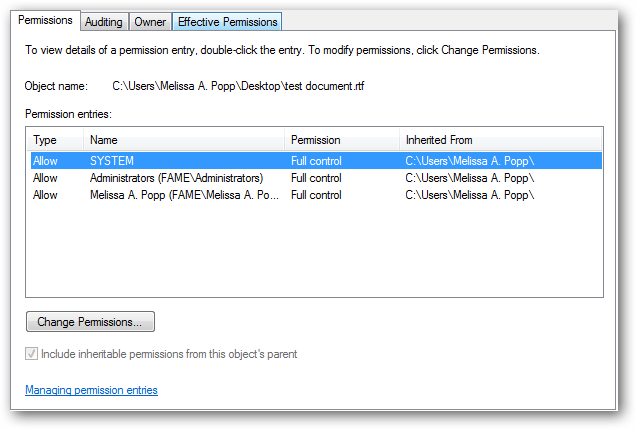 Advanced permissions settings