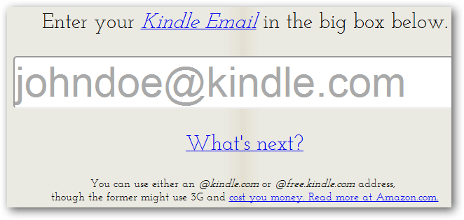 Enter your Kindle e-mail