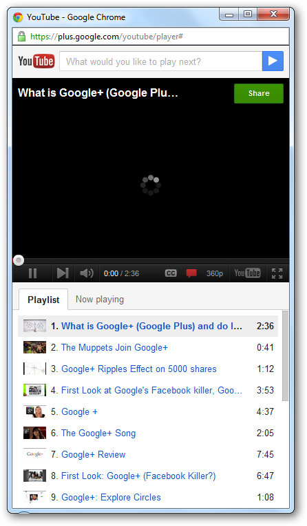 Google+ YouTube Player