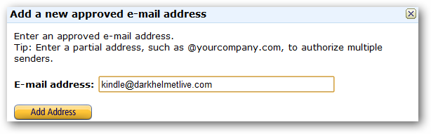 Add a new approved e-mail address