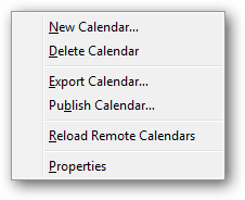 Right-click on calendar