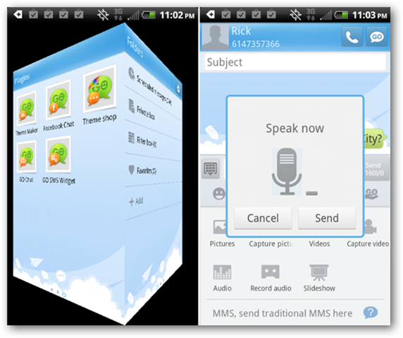 Go SMS Pro: UI and Voice Texting