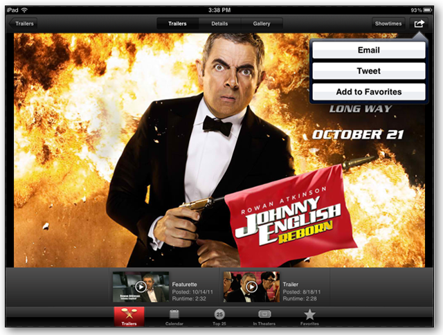 Screenshot of iTunes Movie Trailers App - Sharing Feature
