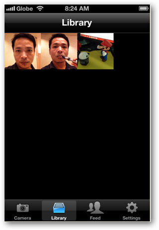 Screenshots of Loopcam iPhone app - library