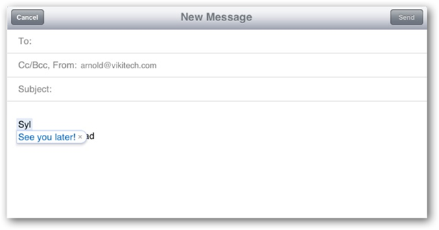Ipad email app displays the exact phase represented by the shortcut