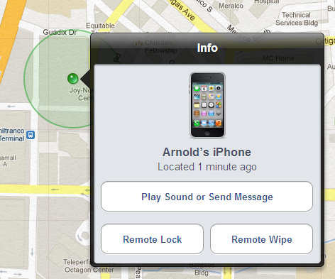 Screenshots of Find My iPhone - Remote Lock and Remote Wipe