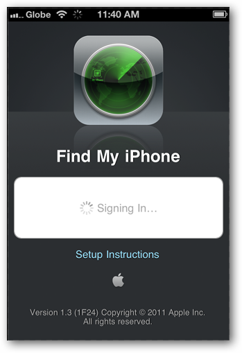 Screenshots of FindMyiPhone app