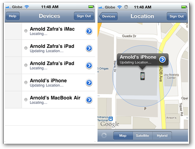 Screenshots of FindMyiPhone app - map view