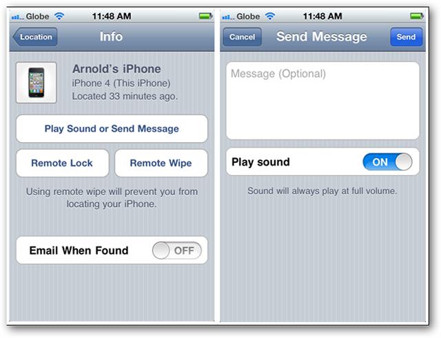 Screenshots of FindMyiPhone app - message
