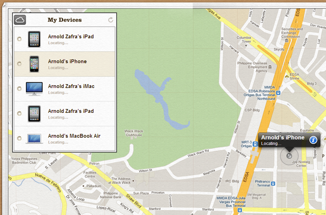 Screenshots of Find My iPhone - iCloud web interface