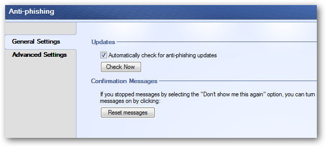 Anti-phishing settings