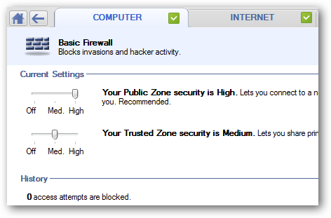 Settings for basic firewall