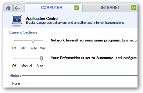 Settings for Application Control