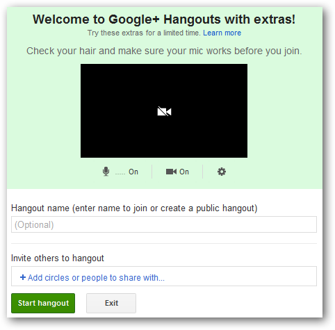 Start a Hangout With Extras