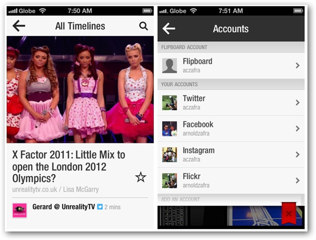 Screenshots of Flipboard for iPhone - All Timelines, Accounts