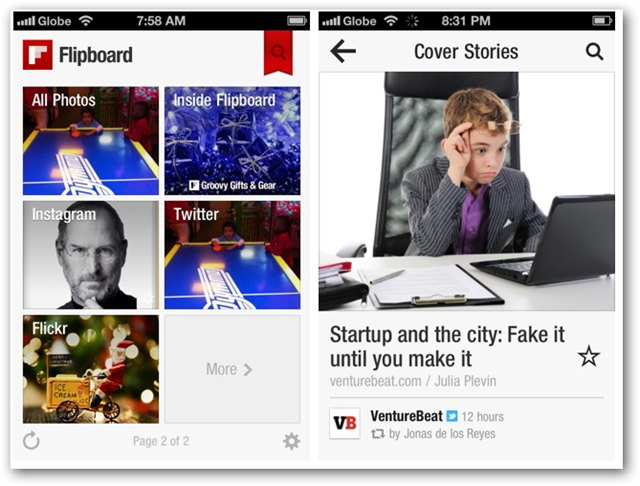 Screenshots of Flipboard for iPhone - Main Screen and Cover Stories