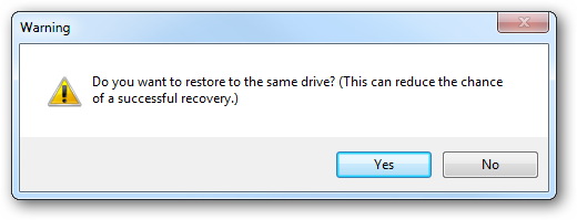 Recovering to same drive