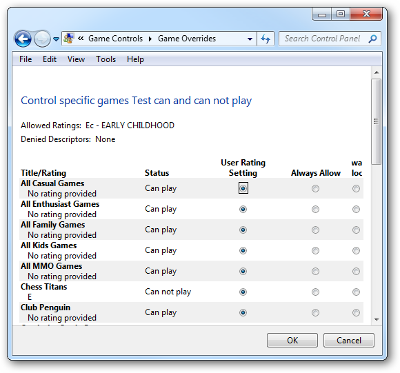 Control specific games account can and can not play