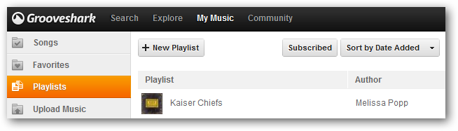 Playlist now in Grooveshark