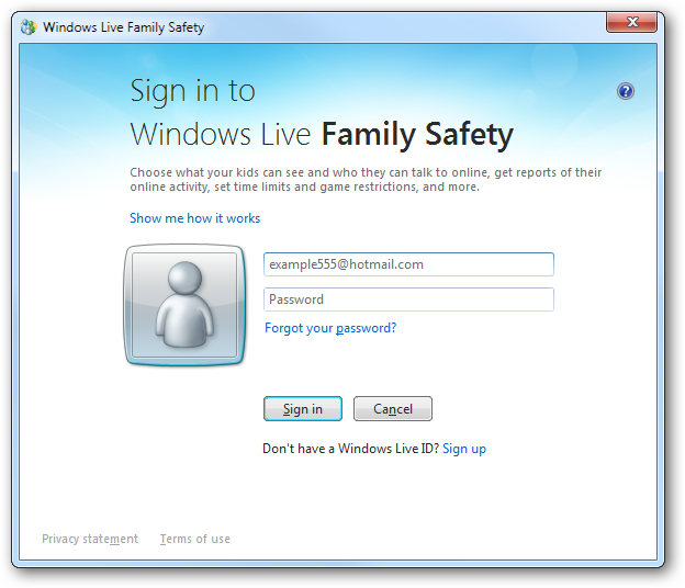 Sign in to Windows Live Family Safety