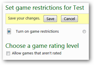 Set game restrictions for account