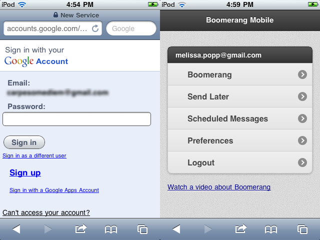 Sign into Gmail, Boomerang Mobile