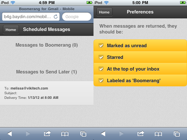 Scheduled messages, Preferences