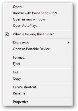 Right click on USB drive