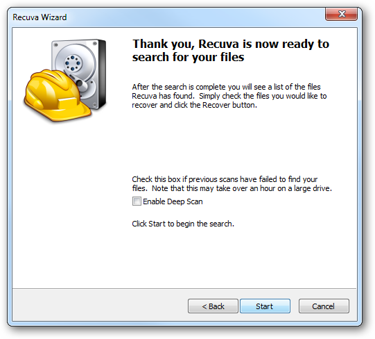 Thank you, Recuva is now ready to search for your files