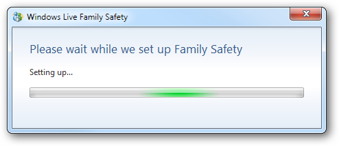 Please wait while we set up Family Safety