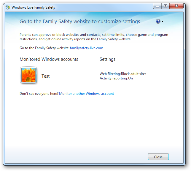 Go to the Family Safety web site to customize settings