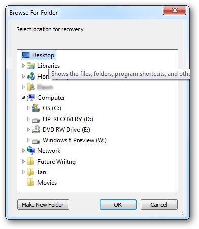 Where to save file for recovery