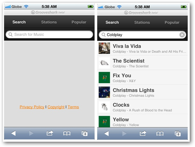 Screenshots of Grooveshark Webapp on iPhone - Search Views