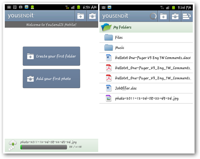 Screenshots of YouSendIt Android app Creating Folders