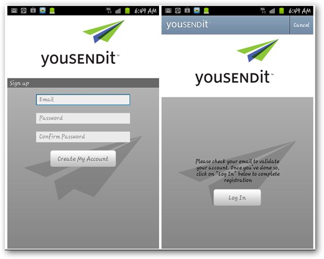 Screenshots of YouSendIt Android app signing up
