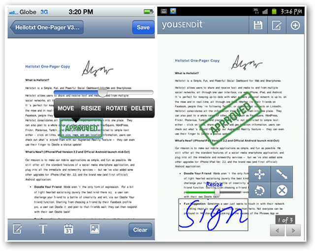 Screenshots of YouSendIt - Annotating and Signing Files on iOS and Android Interfaces