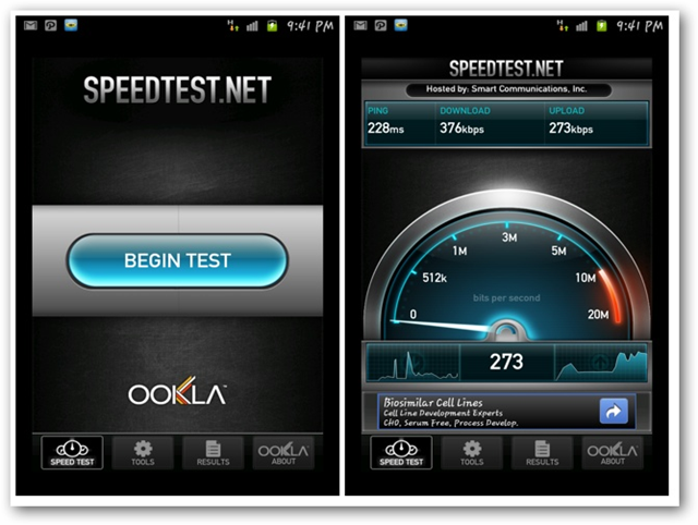 Speedtest net for Android screenshot - Being Test and Speed test