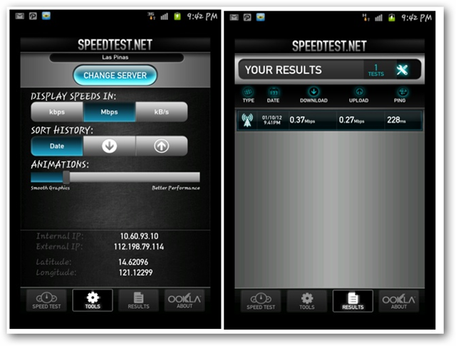 Speedtest net for Android screenshots - Change Server and Your Results