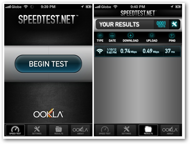 Speedtest net for iOS screenshots - Begin Test and Your Results